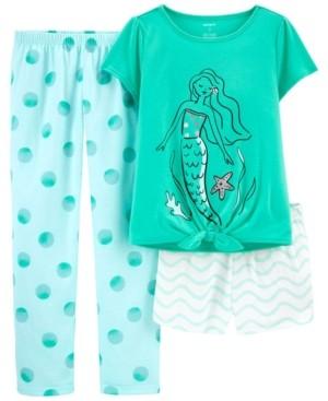 Carter's Big Girls 3 Piece Mermaid Loose Fit Pajama Set