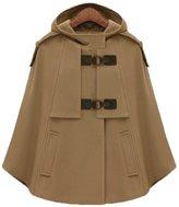 YUYU Fashion hooded Cape wool Cape coat