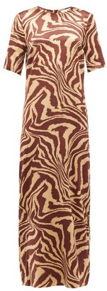 Ganni Zip-hem Tiger-print Silk-blend Dress - Multi
