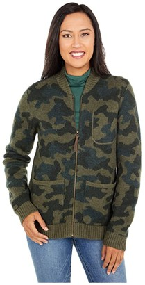 Pendleton Boiled Wool Bomber Jacket (Olive Camo) Women's Coat