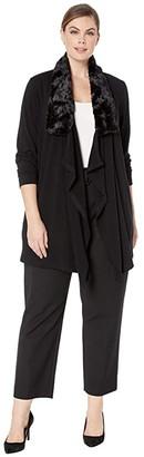 Karen Kane Plus Plus Size Faux Fur Collar Cardigan (Black) Women's Sweater
