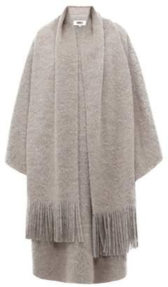 MM6 MAISON MARGIELA Layered Scarf Wool Blend Poncho - Womens - Grey