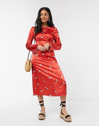 Nobody's Child ruffle wrap midi dress in red floral satin