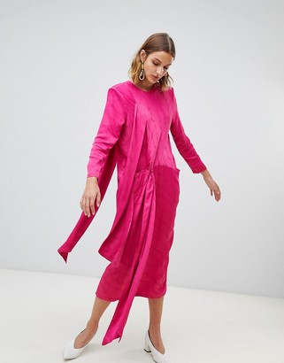 Asos Twist Tie Detail Midi Dress-Pink