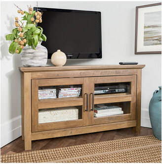 Hewson 44In Transitional Modern Farmhouse Wood Corner Tv Stand