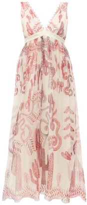 Zandra Rhodes Cactus Everywhere Silk-chiffon Midi Dress - Womens - White Print