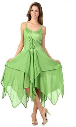 Sakkas 9031 Lady Mary Jacquard Bodice Handkerchief Hem Dress - Purple - One Size