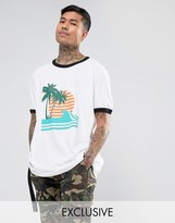 Reclaimed Vintage Inspired Ringer T-Shirt With Palm Print