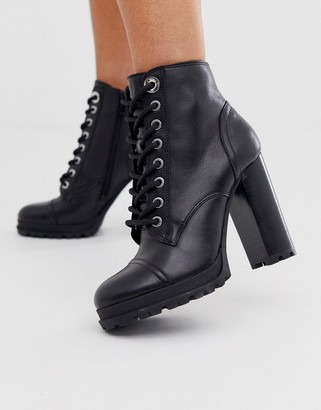 Aldo Marille chunky sole heel hiker boot-Black