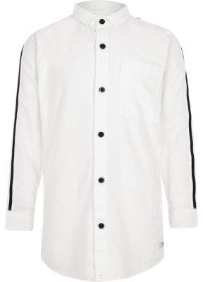 River Island Boys white tape sleeve Oxford shirt