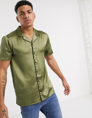 Another Influence satin revere collar shirt in khaki-Green