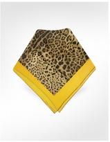 Signature Frame Leopard Printed Silk Square Scarf