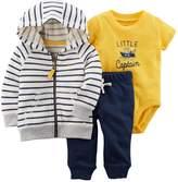 """Carter's Baby Boy Striped Zip-Up Hoodie, """"Little Captain"""" Bodysuit & Pants Set"""