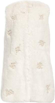 Shrimps Faux Pearl-trimmed Faux Fur Gilet