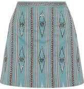 Alice + Olivia Alice+olivia Bead-Embellished Woven Cotton Mini Skirt