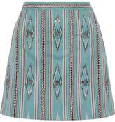 Alice + Olivia Bead-Embellished Woven Cotton Mini Skirt