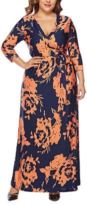 Belle De Jour Belle de Jour Women's Maxi Dresses blue - Blue Floral Surplice Maxi Dress - Women & Plus