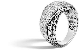 John Hardy Classic Chain Overlap Ring With Diamonds