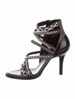 Chloé Lizard Chain-Link Accents Gladiator Sandals w/ Tags Grey