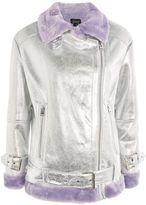 Topshop Metallic Faux Fur Biker Jacket