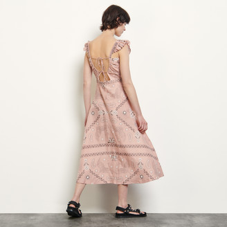 Sandro Long printed dress with square neckline