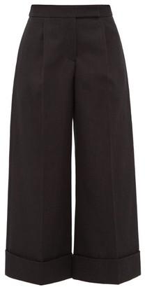 Simone Rocha Turn-up Cuff Gabardine Wide-leg Trousers - Womens - Black