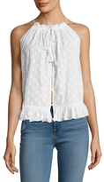 Calypso St. Barth Chasca Cotton Embroidered Drawstring Blouse