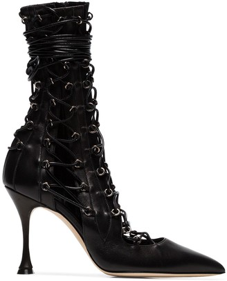Liudmila Lace-Up Heeled Boots
