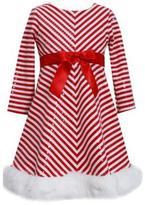 Bonnie Jean Girl's Striped Dress With Faux-Fur Trim