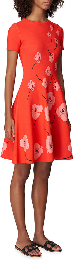 Carolina Herrera Floral Knit Fit-&-Flare Dress