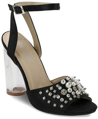 OLIVIA MILLER Stuyvesant Rhinestone Pearl Peep Toe Sandals Women Shoes
