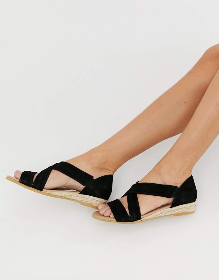Office Hallie black suede flat sandals