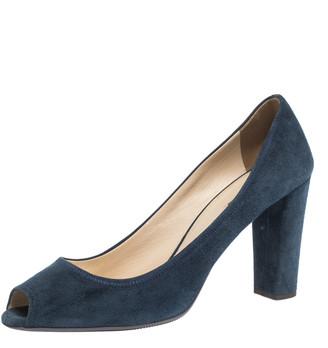 Prada Blue Suede Block Heel Peep Toe Pumps Size 41