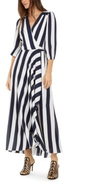 INC International Concepts Inc Petite Striped Wrap Maxi Dress, Created for Macy's