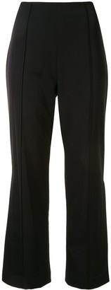 Jonathan Simkhai Cropped Flared Trousers With Side Slit Lace