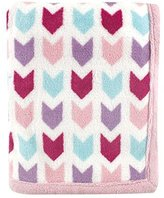 Hudson Baby Print Coral Fleece Blanket, Pink Chevron by