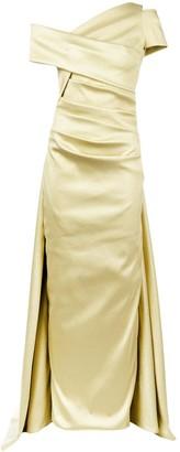 Talbot Runhof Lame Off-Shoulder Dress