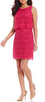 Anne Klein Round Neck Sleeveless Solid Lace Pop Over Sheath Dress