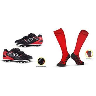Optimum Boys Tribal Moulded Stud Football Boots, Black (Black/Red), (1 EU) with Men's Classico Sports Socks, Red, Junior (3-6)