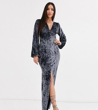 Asos Tall DESIGN Tall long sleeve button through velvet maxi dress in steel-Grey