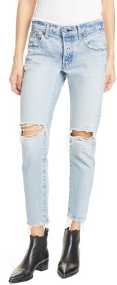 Moussy Yardley Ripped Tapered Jeans