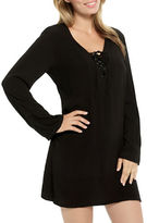 Christina Long Sleeve Lace-Up Woven Cover-Up