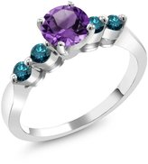 Gem Stone King 1.01 Ct Round Purple Amethyst Blue Diamond 18K White Gold Engagement Ring