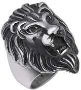 XCFS Men's Punk Funk Roaring shout King Lion Head Titanium Stainless steel 316L Band Ring