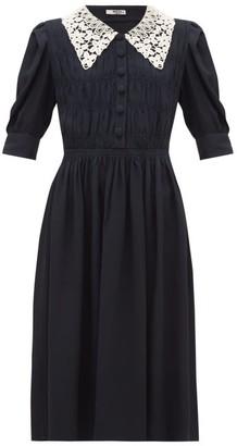 Miu Miu Peter Pan-collar Crepe Dress - Womens - Black