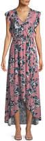 Splendid Floral-Print Tulip-Sleeve Maxi Dress