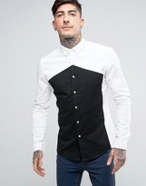 Asos Skinny Fit Cut And Sew Monochrome Shirt
