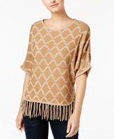 NY Collection Petite Fringe-Trim Sweater