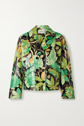 Fendi Double-breasted Floral-print Coated Cotton-twill Jacket - Green