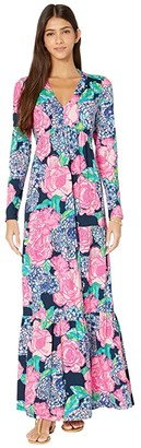 Lilly Pulitzer Martinique Maxi Dress (High Tide Navy Hey Hey Bouquet) Women's Dress